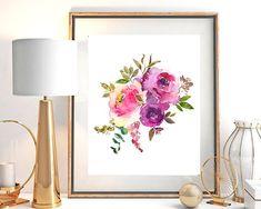 Menu Printing, Floral Printables, Summer Flowers, Floral Bouquets, Floral Watercolor, Printable Wall Art, Pink Purple, Digital Prints, Hand Painted