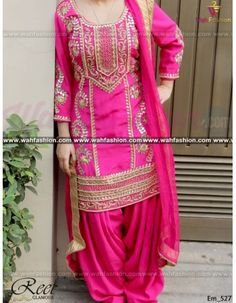 Give yourself a stylish & designer look with this Stunning Magenta Embroidered Punjabi Suit. Embellished with Embroidery work and lace work. Available with matching bottom & dupatta. It will make you noticable in special gathering. You can design this suit in any color combination or on any fabric. Just whatsapp us for more details.  For more details whatsapp us: +919915178418 Punjabi Salwar Suits, Patiala Salwar, Designer Suits Online, Designer Dresses, Indian Suits, Indian Wear, Panjabi Suit, Boutique Suits, Pakistani Wedding Outfits