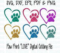 Paw Print and Heart SVG Cut File Digital by SVGDigitalDesigns