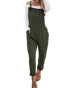 553554a2998828 StyleDome Women's Sleeveless Overall Strappy Pocket Jumpsuit Baggy Romper  Bib Loose Trousers
