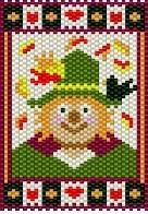 Friendly Fall Scarecrow Beaded Banner