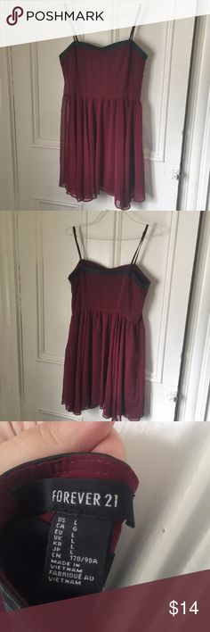 Forever 21 red chiffon party dress Gorgeous burgundy dress with a chiffon shirt and black trim around the chest. Perfect condition, size large. Forever 21 Dresses