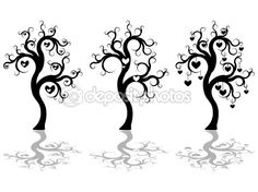 Trees silhouette by Evgenia Malakhova - Stock Vector