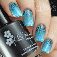 Stamping nail art using @bundlemonster's latest stamping plates, Paisley Flow? This set of 10 is a continuation of last year's Shangri-La buffet-style plates with lots of fine swirly, floral and tribal patterns. This mani used BM-S111 over a gradient of @kbshimmer Eyes White Open, My Life's Porpoise and Eclipse