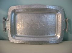 vintage hammered hand wrought aluminum tray