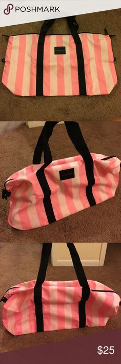 VS Stripped Tote - NWOT Pink striped tote from Victoria's Secret. Has two handles & a full zipper across the top. Great for traveling. The 2 ends have button snaps to make the bag look more rounded at the ends or more rectangular. 💕 It didn't come with a tag, however it hasn't ever been used. Just cleaning out my closet & have SO many totes!! Victoria's Secret Bags Totes