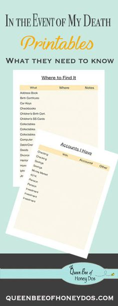 In the Event of My Death: free printable pages to organize everything so your loved ones can access your accounts, find essential paperwork, etc. So hard to think about, but very important! Planners, Just In Case, Just For You, When Someone Dies, Life Binder, Thing 1, After Life, In Case Of Emergency, Simple Life Hacks