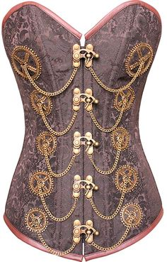 Steampunk Brocade Corset Embroidered Cogs and Chains
