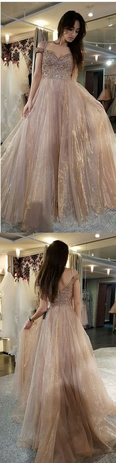 gorgeous prom dress, 2018 champagne long prom dress, off the shoulder prom dress, party dress