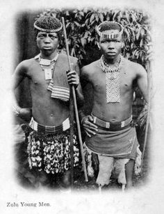 Africa | Young Zulu Men.  South Africa || Vintage Postcard; dated 1904.