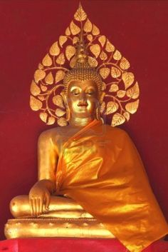 gold-Buddha-with-red-wall-background-at-the-temple-phrae-province-north-region-of-Thailand