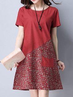 Simple Dresses, Casual Dresses, Short Sleeve Dresses, Dresses Dresses, Cheap Dresses, Loose Dresses, Long Sleeve, 1950s Dresses, Casual Clothes