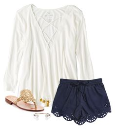 Lydia⚓️ by savanahe on Polyvore featuring American Eagle Outfitters, Jack Rogers and Letters By Zoe