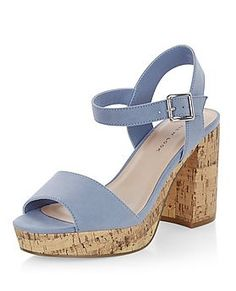 Wide Fit Blue Suedette Contrast Flared Heel Sandals    New Look