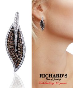Diamond leaf earrings in white and brown diamonds in 18k white gold.
