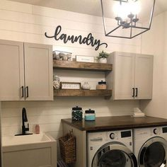 37 Beautiful Small Laundry Room Makeover Ideas - Its one of the most used rooms in the house but it never gets a makeover. What room is it? The laundry room. Almost every home has a laundry room and . Rustic Laundry Rooms, Laundry Room Signs, Laundry Room Organization, Laundry Room Wall Decor, Laundry Room Shelves, Laundry Room With Sink, Farmhouse Decor Bathroom, Laundry Cabinets, Basement Laundry