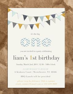 Courduroy Boy's 1st Birthday Invitation by TheBrownPaperMoon, $15.00
