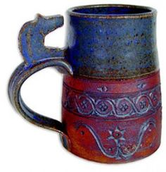 Tokheim Fjord Horse Mug - A mighty fine beer mug from the incomparable Minnesota pottery studio of Gene and Lucy Tokheim, styled after Viking mugs of old. 14oz. Blue