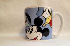 RARE DISNEY MUG ~ COFFEE TEA CUP Mickey Mouse Donald Pluto Goofy Quotes HUGE EUC