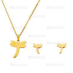 juego collar y aretes de libelula moda en acero dorado inoxidable -SSNEG504222