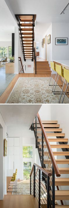 Wood and steel stairs match the wood flooring in the kitchen of this home.