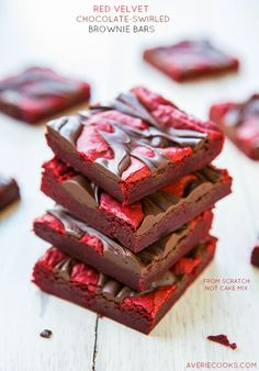 Red Velvet Chocolate-Swirled Brownie Bars