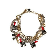 DOLCE & GABBANA - MULTI CHAIN LIPSTICK NECKLACE ($1,140) ❤ liked on Polyvore featuring jewelry, necklaces, accessories, bracelets, colar, layered chain necklace, adjustable bracelet, charm bracelet, red chain necklace and thick chain necklace