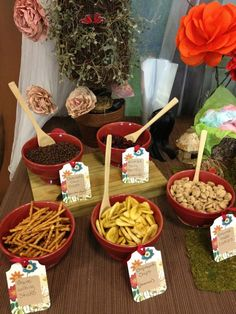 Make your own Gnome Trail Mix?  If we go more toward woodland fairy theme, this is cute and easy.  :-)