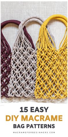 15 Easy DIY Macrame Bags, Purses and Clutches for Beginners #macrame #bag #pattern #macramebagpattern Did you know it's super easy to make your own gorgeous Macrame bag? It only takes a few basic knots to get started. Enjoy 15 easy DIY Macrame bags for beginners! Macrame Supplies, Macrame Projects, Macrame Wall Hanging Diy, Macrame Purse, Macrame Design, Macrame Patterns, Macrame Plant Hanger Patterns, Things To Sell, Crochet
