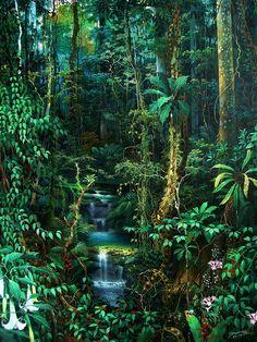 Jungle Scene, Jungle Art, Psychedelic Art, Oracular Spectacular, Peacock Wall Art, Jungle Gardens, Haitian Art, Fantasy Forest, Tropical Art