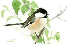 Chickadee one of a kind original watercolor painting, bird art, sage brown colors small original painting gift bird lover chickadee art  9x6 $22.00