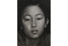 「CONSTELLATION」by Kumi Yamashita (釘と糸で作られた写実的なポートレート)