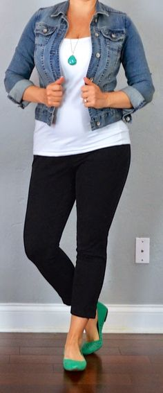 outfit post: jean jacket, white tank, black cropped pants, teal flats