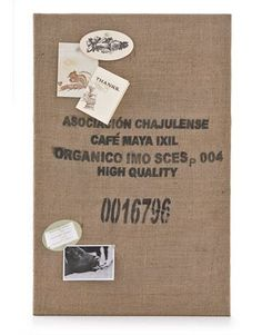 Corkboard covered with a coffee sack