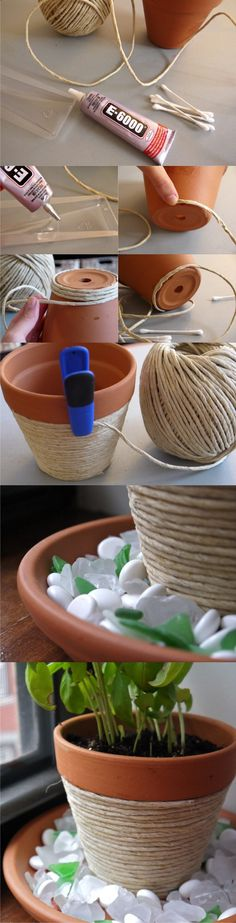 Maceta decorada con cuerda - pumpsandiron.com - DIY Rope Planter