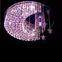Romantic Modern K9 Crystal Estrellas y Luna RGB Led E14 Luz de Techo con Control…