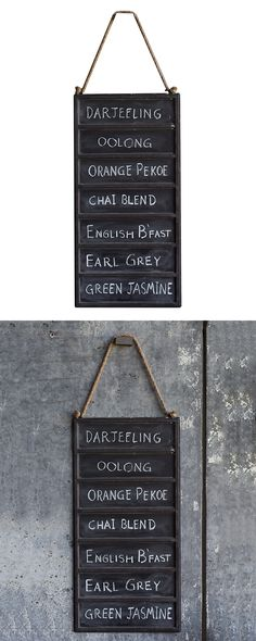 """Give your outdoor party the """"write"""" touch."""" Our Bauer Hanging Chalkboard is made of metal and features seven distinct panels. Its rope handle adds a rustic touch and simplifies hanging.  Find the Bauer Hanging Chalkboard, as seen in the Rustic Farmhouse Style Collection at http://dotandbo.com/collections/rustic-farmhouse-style?utm_source=pinterest&utm_medium=organic&db_sku=124187"""