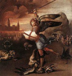 Рафаэль Санти «Архангел Михаил, побеждающий дьявола» 1505 г.
