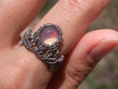crystal opal macrame ring