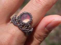 crystal opal macrame ring