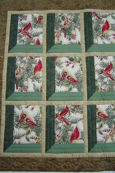 The Sence Looks Through Many Windows Many Type Of Red Birds Perched On A Tree Each Different Drawing In Each Square Quilt Christmas Quilt Patterns, Quilt Block Patterns, Quilt Blocks, Christmas Quilting Projects, Quilt Kits, Patchwork Quilt, Bird Quilt, Quilt Studio, Vogel Quilt