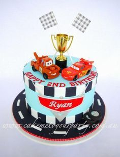 Disney Car's Cake for Twin Boys (race track version) - Cake by Leah Jeffery