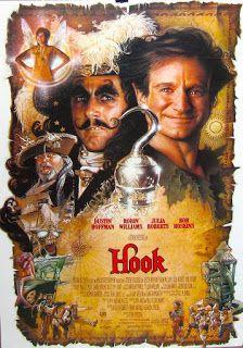 Hook (El capitán Garfio) de Steven Spielberg con Robin Williams, Dustin Hoffman, Julia Roberts, Bob Hoskins y Maggie Smith /  Entretenida película de aventuras dirigida por el mago Spielberg con unos buenos efectos especiales y un reparto de lujo en el que todos brillan para conseguir hacernos soñar que la magia existe... y hay algunos momentos en que lo consiguen