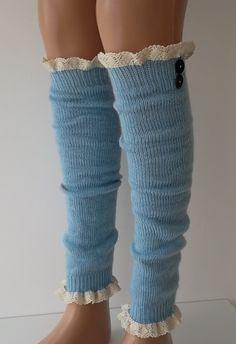 SOCKS Blue Leg Warmers Boot Socks Machine by CarnavalBoutique Κέντημα  Δαντέλας fcc7a22b727