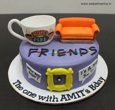 FRIENDS tv show theme customized designer fondant cake with 3d couch, coffee cup with Central Perk logo for friend at Pune