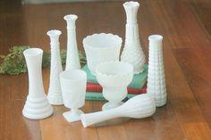 SOLD.....Milk Glass Vases / 9 Vintage Vases / Vintage by DaydreamingKat
