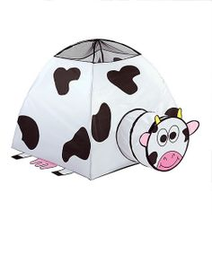 Little animal enthusiasts will giggle with glee at the sight of this charming cow tent. Featuring a darling design and quality construction, it provides the perfect hideaway for any little farmer during playtime.