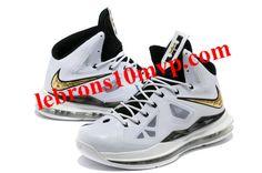 4cbeff827b89 Kids Lebron 10 White Black Gold Medal Gold Shoes