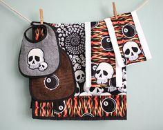 Rockin' eights baby blanket set with matching bibs burp cloths