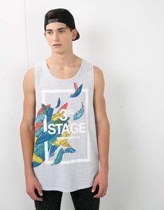 Feathers and text print top - T-shirts - Bershka Turkey